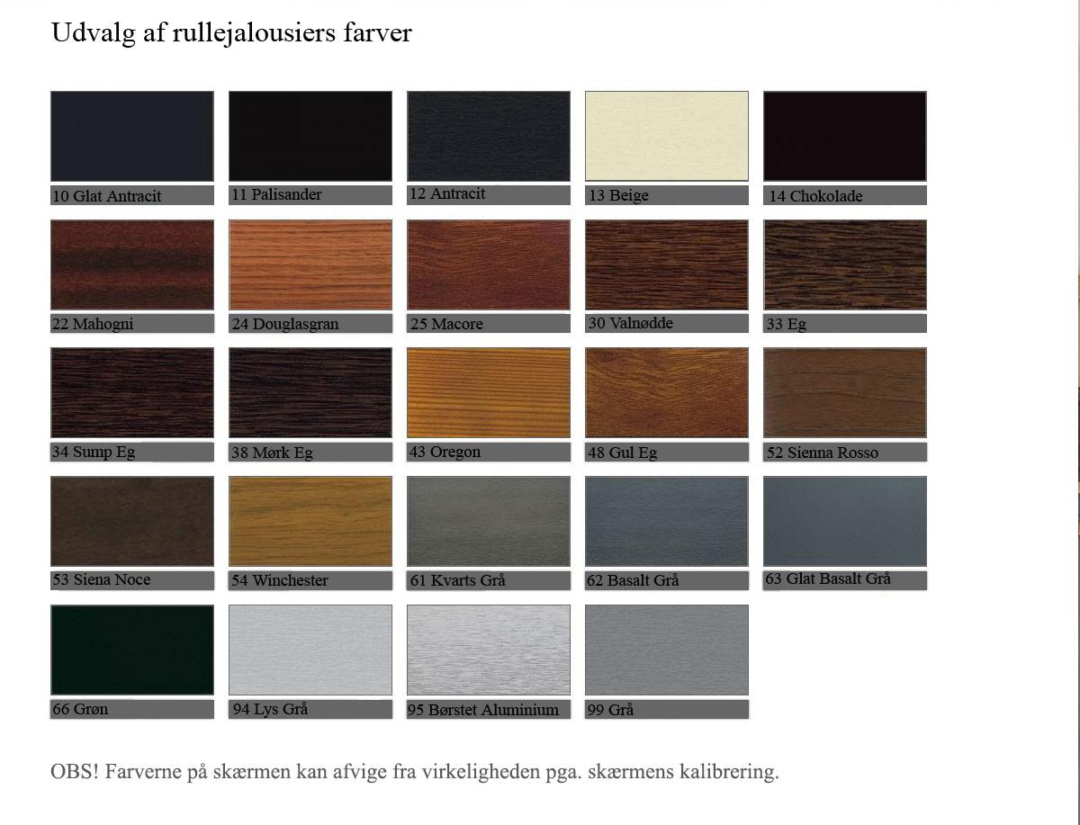 Udvalg af farver til Jalousier